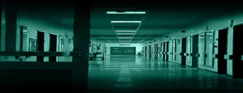 Hospital corridor green wide